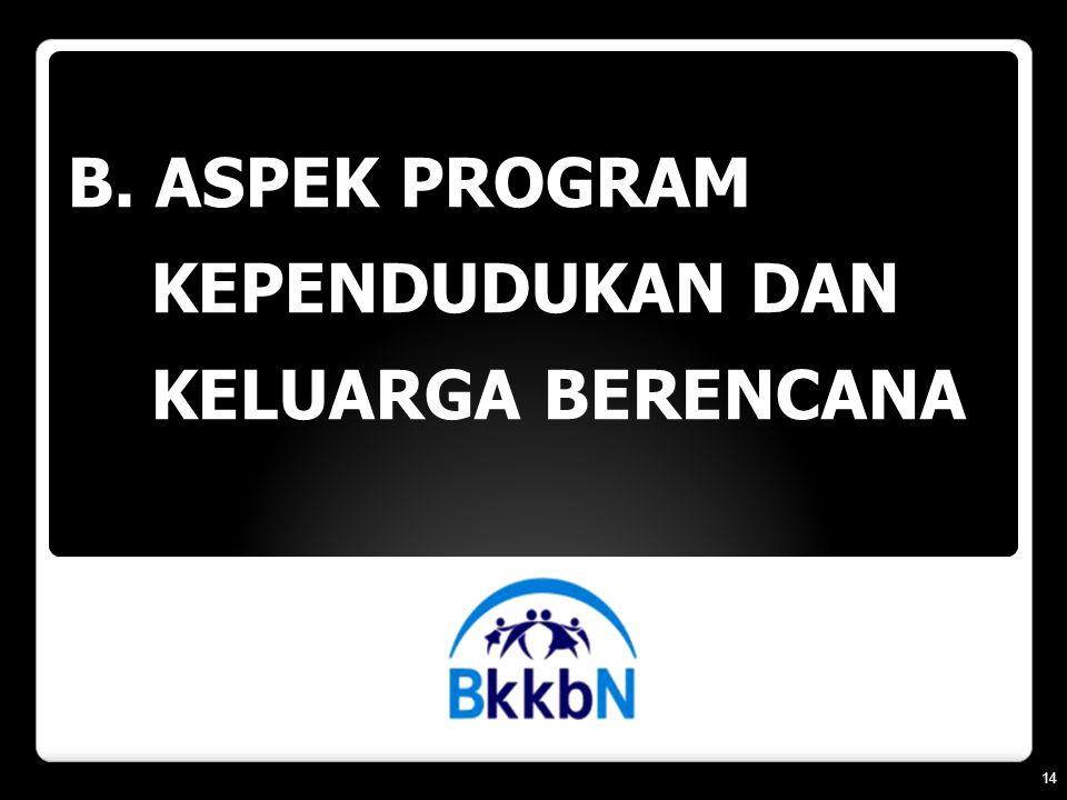 B. ASPEK PROGRAM KEPENDUDUKAN DAN KELUARGA BERENCANA 14