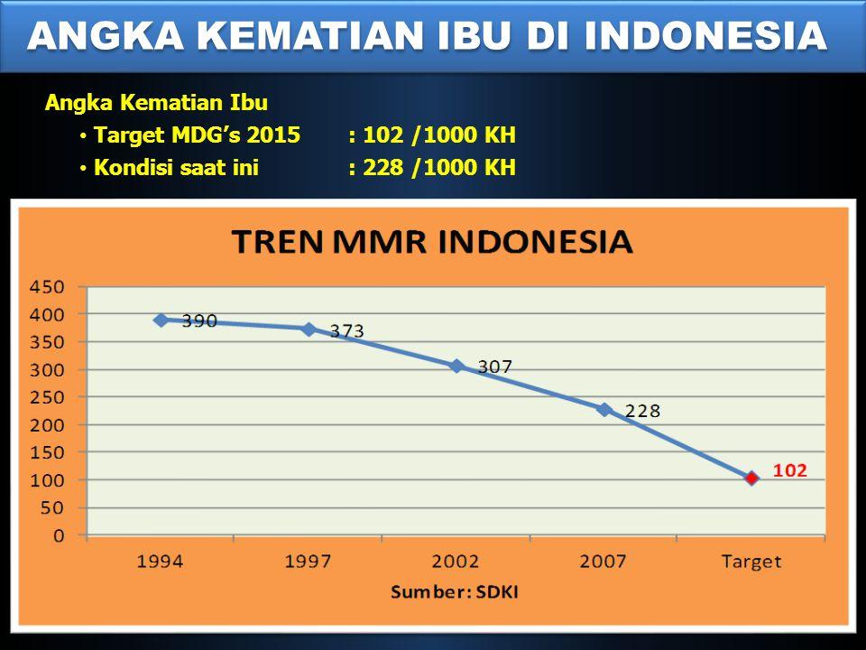 ANGKA KEMATIAN IBU DI INDONESIA Angka Kematian Ibu • Target MDG's 2015 : 102 /1000 KH • Kondisi saat ini: 228 /1000 KH