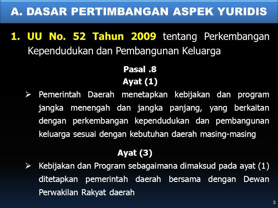 A. DASAR PERTIMBANGAN ASPEK YURIDIS 1. UU No. 52 Tahun 2009 tentang Perkembangan Kependudukan dan Pembangunan Keluarga Pasal.8 Ayat (1)  Pemerintah D