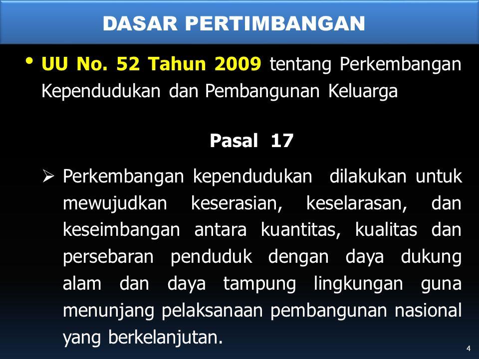 DASAR PERTIMBANGAN • UU No. 52 Tahun 2009 tentang Perkembangan Kependudukan dan Pembangunan Keluarga Pasal 17  Perkembangan kependudukan dilakukan un