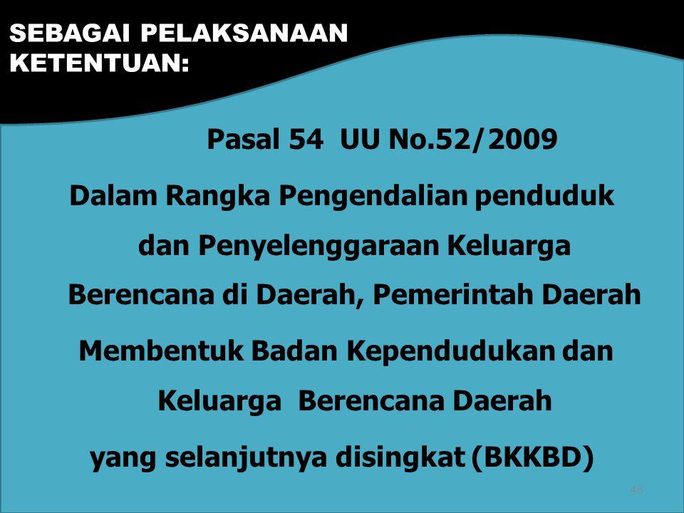 Pasal 54 UU No.52/2009 Dalam Rangka Pengendalian penduduk dan Penyelenggaraan Keluarga Berencana di Daerah, Pemerintah Daerah Membentuk Badan Kependudukan dan Keluarga Berencana Daerah yang selanjutnya disingkat (BKKBD) SEBAGAI PELAKSANAAN KETENTUAN: 46