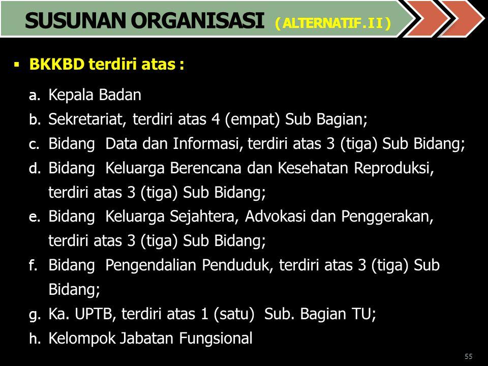 55  BKKBD terdiri atas : a. Kepala Badan b. Sekretariat, terdiri atas 4 (empat) Sub Bagian; c. Bidang Data dan Informasi, terdiri atas 3 (tiga) Sub B