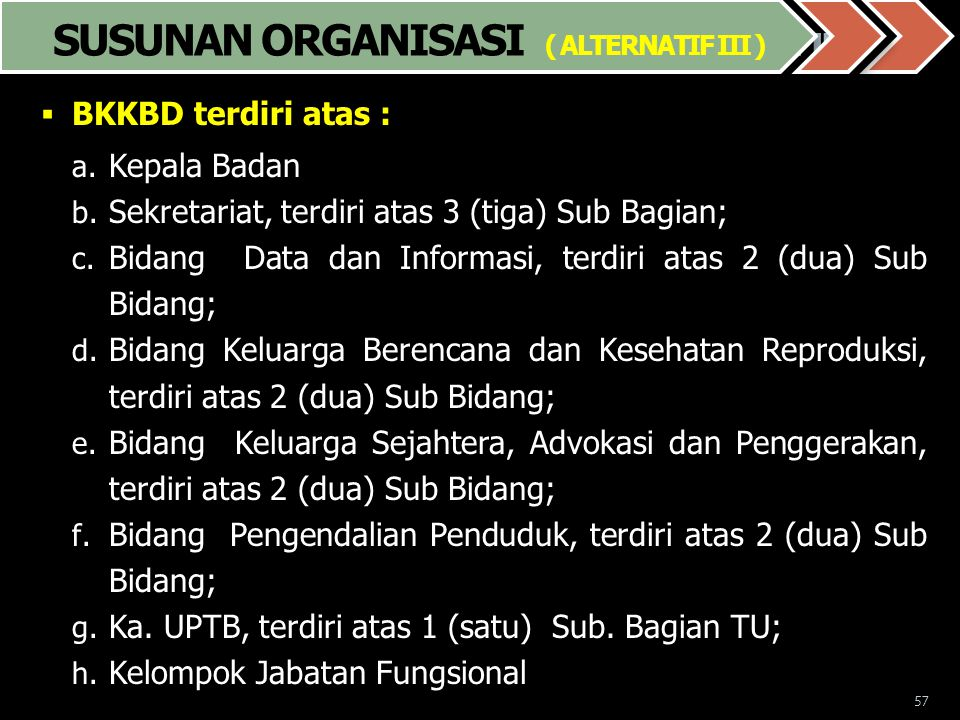 57 Susunan Organisasi ( Alternatif. III )  BKKBD terdiri atas : a. Kepala Badan b. Sekretariat, terdiri atas 3 (tiga) Sub Bagian; c. Bidang Data dan