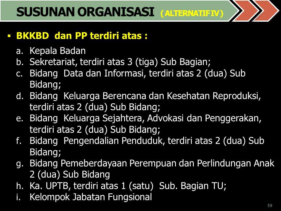 59  BKKBD dan PP terdiri atas : a. Kepala Badan b. Sekretariat, terdiri atas 3 (tiga) Sub Bagian; c. Bidang Data dan Informasi, terdiri atas 2 (dua)