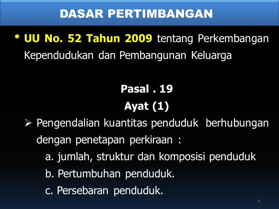 • UU No. 52 Tahun 2009 tentang Perkembangan Kependudukan dan Pembangunan Keluarga Pasal. 19 Ayat (1)  Pengendalian kuantitas penduduk berhubungan den