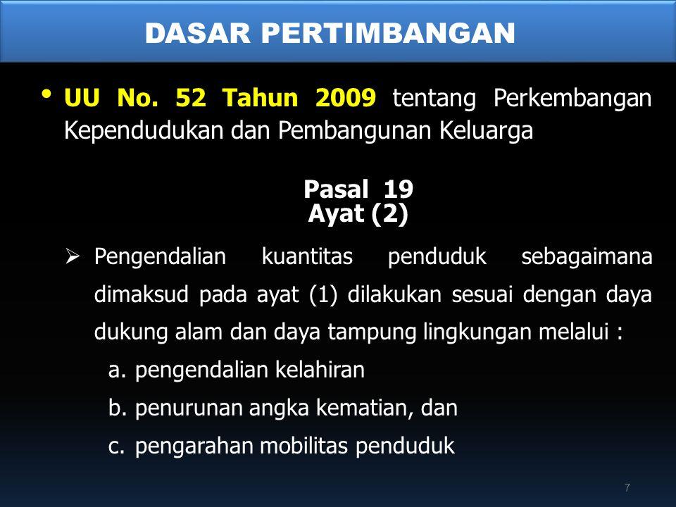 • UU No. 52 Tahun 2009 tentang Perkembangan Kependudukan dan Pembangunan Keluarga Pasal 19 Ayat (2)  Pengendalian kuantitas penduduk sebagaimana dima
