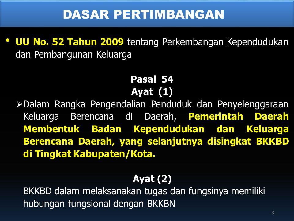• UU No. 52 Tahun 2009 tentang Perkembangan Kependudukan dan Pembangunan Keluarga Pasal 54 Ayat (1)  Dalam Rangka Pengendalian Penduduk dan Penyeleng