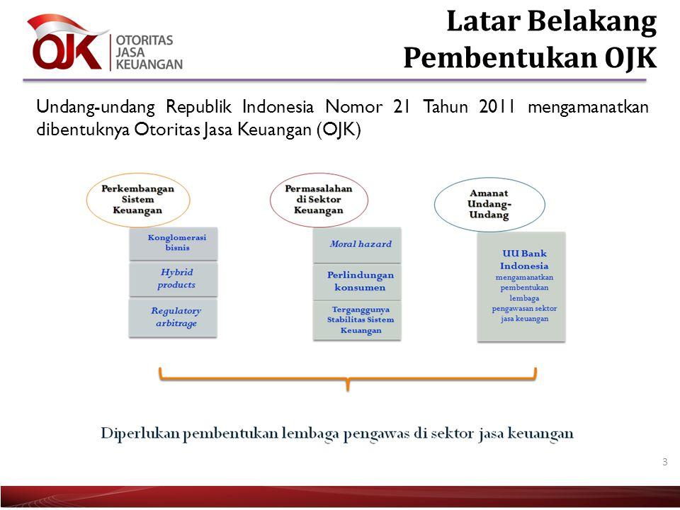 3 Undang-undang Republik Indonesia Nomor 21 Tahun 2011 mengamanatkan dibentuknya Otoritas Jasa Keuangan (OJK)