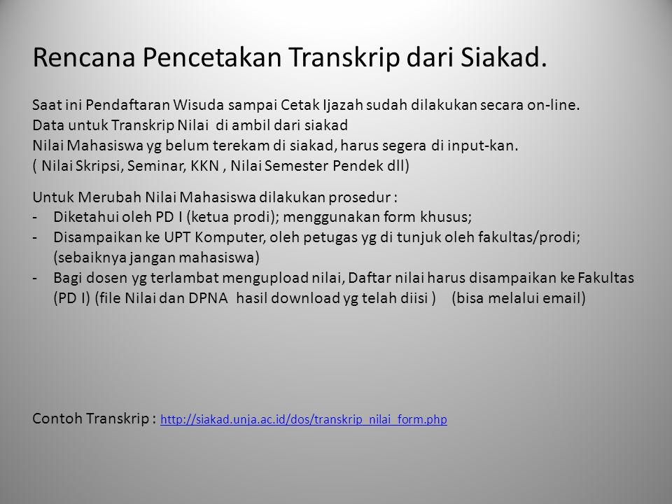 Rencana Pencetakan Transkrip dari Siakad. Saat ini Pendaftaran Wisuda sampai Cetak Ijazah sudah dilakukan secara on-line. Data untuk Transkrip Nilai d