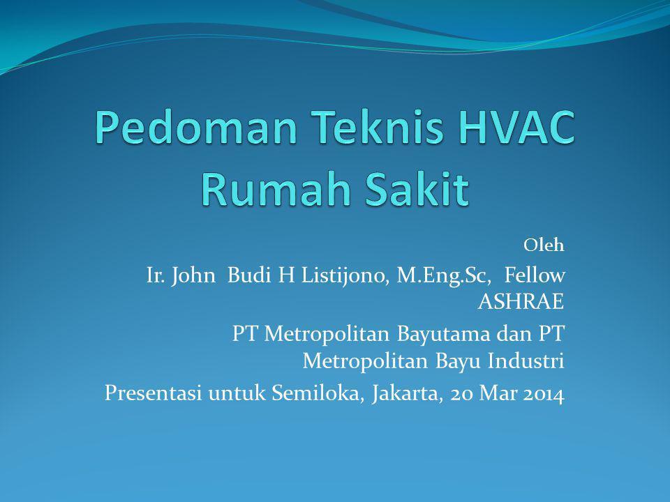 Oleh Ir. John Budi H Listijono, M.Eng.Sc, Fellow ASHRAE PT Metropolitan Bayutama dan PT Metropolitan Bayu Industri Presentasi untuk Semiloka, Jakarta,