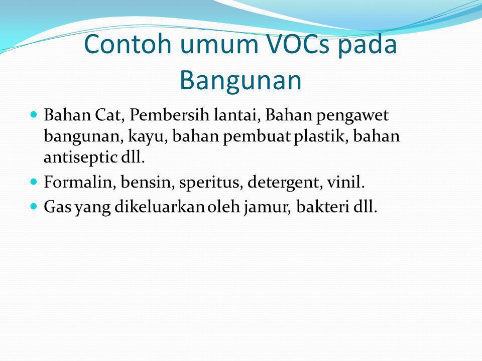 Contoh umum VOCs pada Bangunan  Bahan Cat, Pembersih lantai, Bahan pengawet bangunan, kayu, bahan pembuat plastik, bahan antiseptic dll.  Formalin,