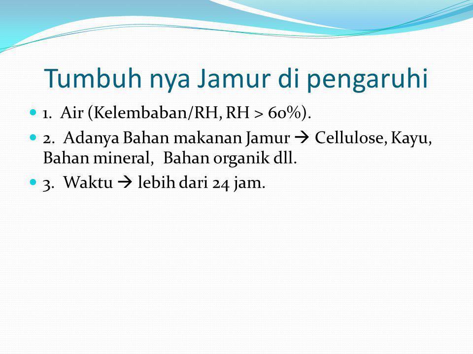 Tumbuh nya Jamur di pengaruhi  1. Air (Kelembaban/RH, RH > 60%).  2. Adanya Bahan makanan Jamur  Cellulose, Kayu, Bahan mineral, Bahan organik dll.