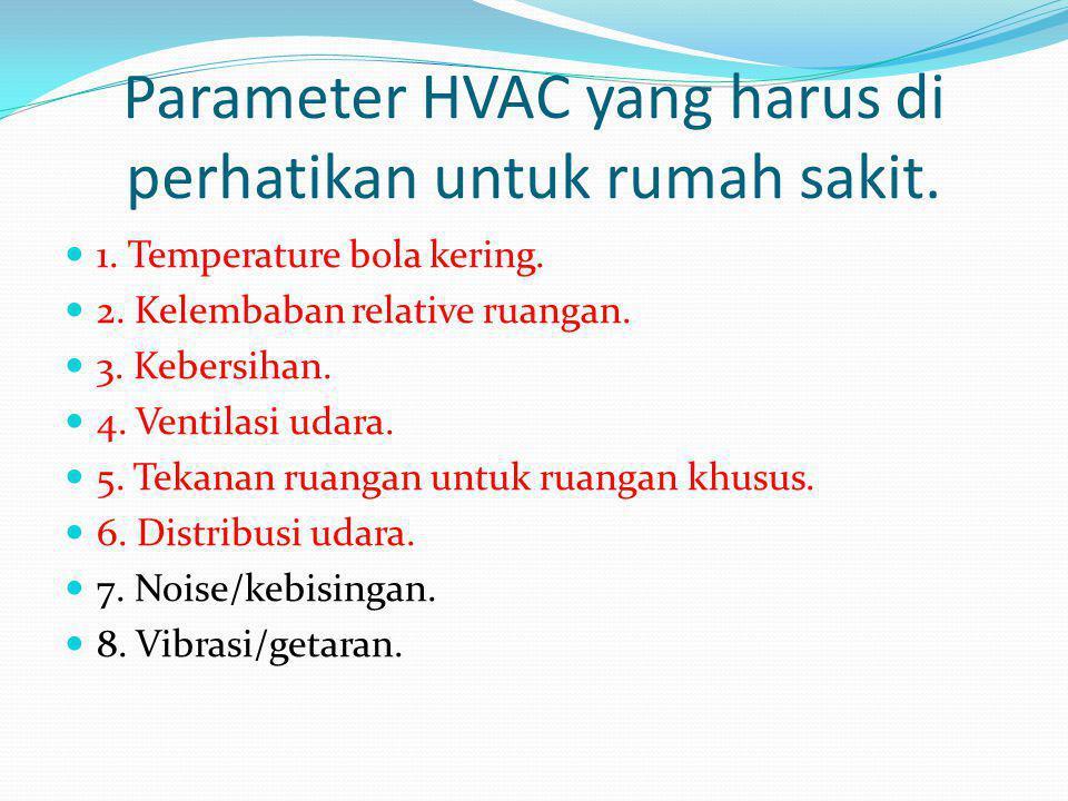 Parameter HVAC yang harus di perhatikan untuk rumah sakit.  1. Temperature bola kering.  2. Kelembaban relative ruangan.  3. Kebersihan.  4. Venti