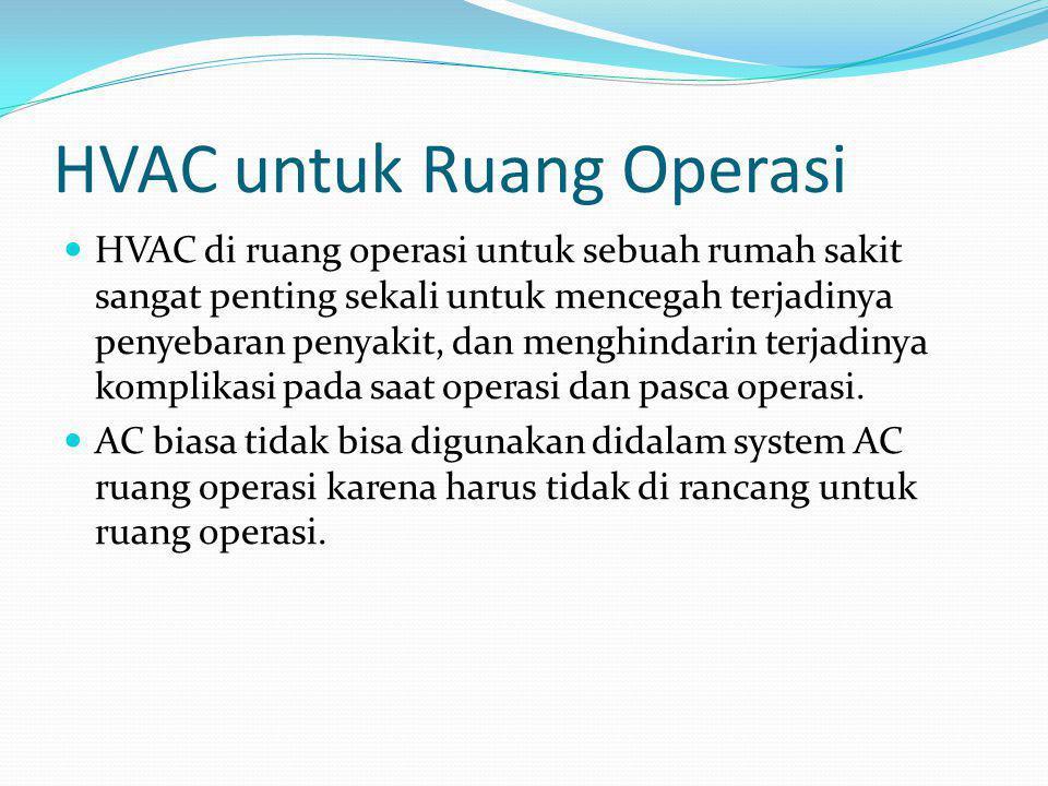 HVAC untuk Ruang Operasi  HVAC di ruang operasi untuk sebuah rumah sakit sangat penting sekali untuk mencegah terjadinya penyebaran penyakit, dan men