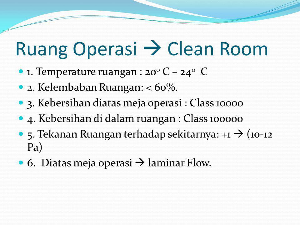 Ruang Operasi  Clean Room  1. Temperature ruangan : 20 0 C – 24 0 C  2. Kelembaban Ruangan: < 60%.  3. Kebersihan diatas meja operasi : Class 1000