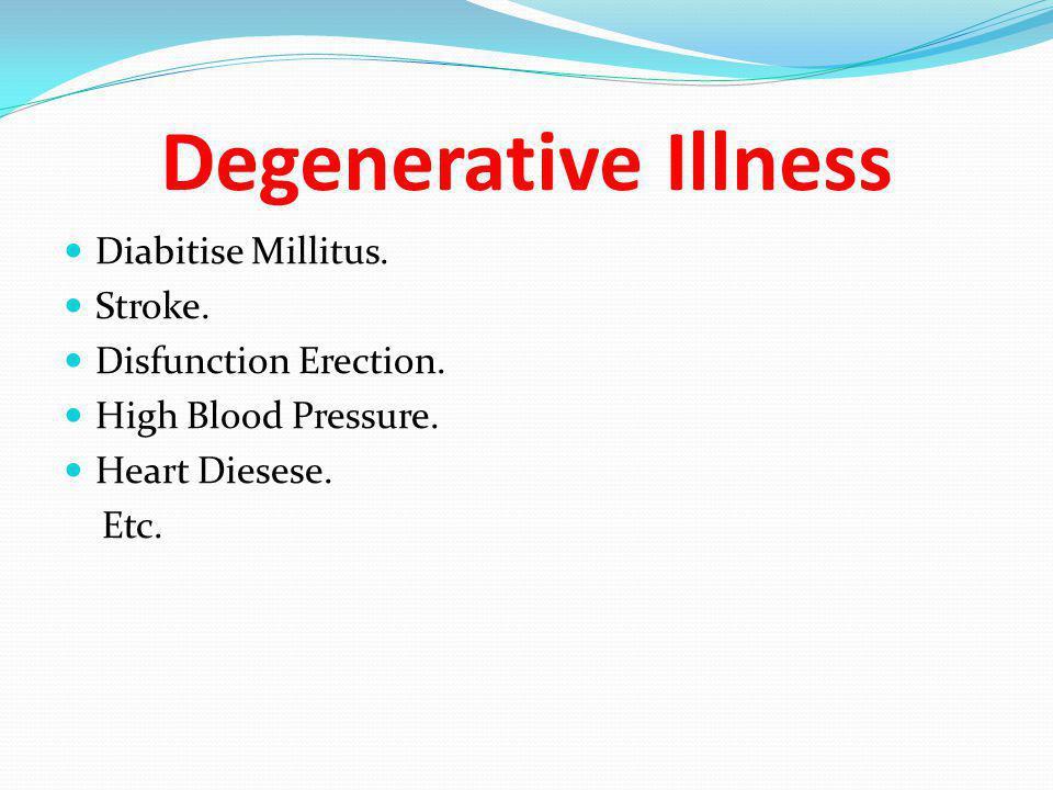Degenerative Illness  Diabitise Millitus.  Stroke.  Disfunction Erection.  High Blood Pressure.  Heart Diesese. Etc.