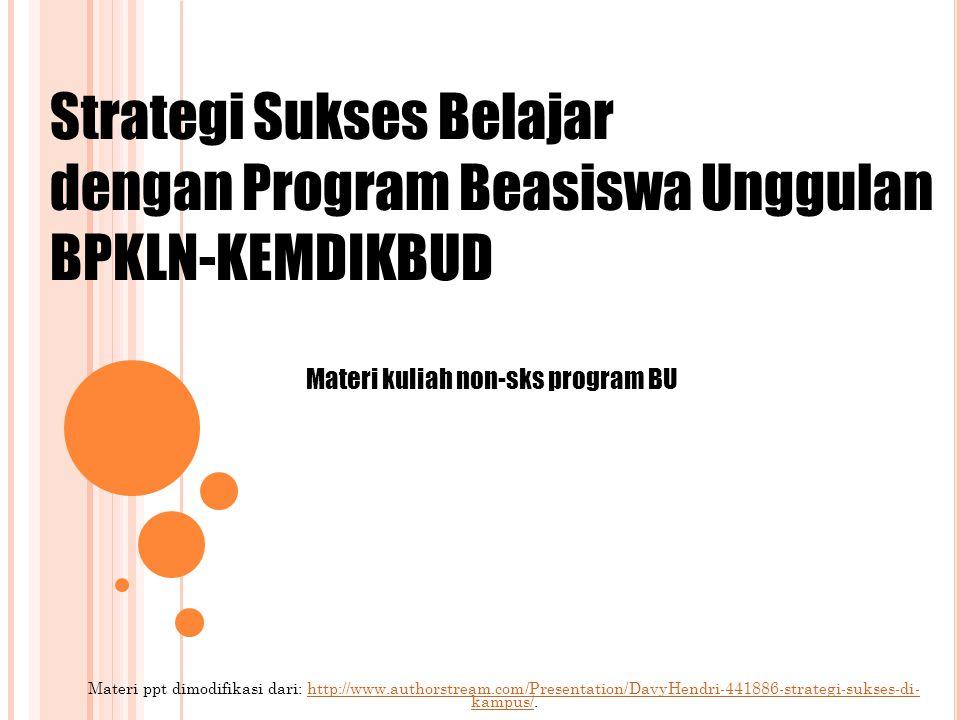 Materi ppt dimodifikasi dari: http://www.authorstream.com/Presentation/DavyHendri-441886-strategi-sukses-di- kampus/.http://www.authorstream.com/Presentation/DavyHendri-441886-strategi-sukses-di- kampus/ Strategi Sukses Belajar dengan Program Beasiswa Unggulan BPKLN-KEMDIKBUD Materi kuliah non-sks program BU