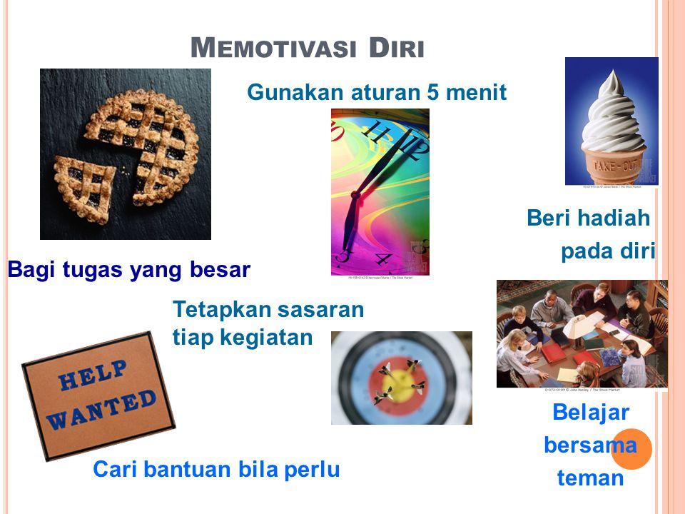 M EMOTIVASI D IRI Bagi tugas yang besar Gunakan aturan 5 menit Tetapkan sasaran tiap kegiatan Beri hadiah pada diri Belajar bersama teman Cari bantuan bila perlu