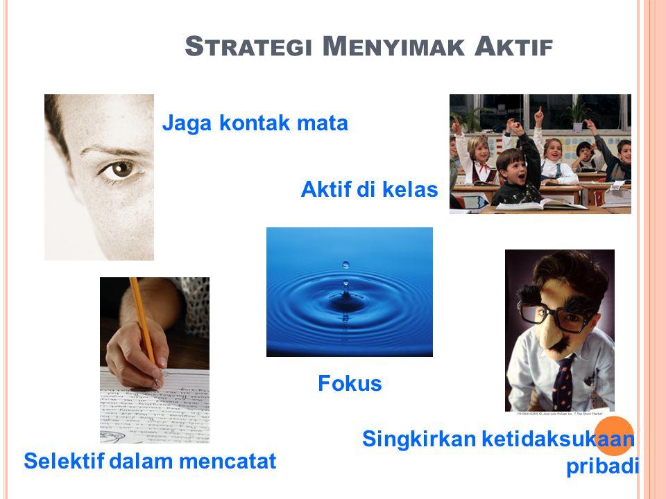 S TRATEGI M ENYIMAK A KTIF Jaga kontak mata Selektif dalam mencatat Fokus Singkirkan ketidaksukaan pribadi Aktif di kelas