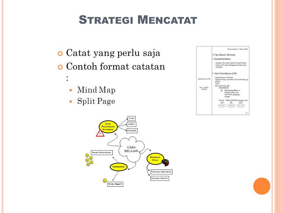 S TRATEGI M ENCATAT Catat yang perlu saja Contoh format catatan :  Mind Map  Split Page
