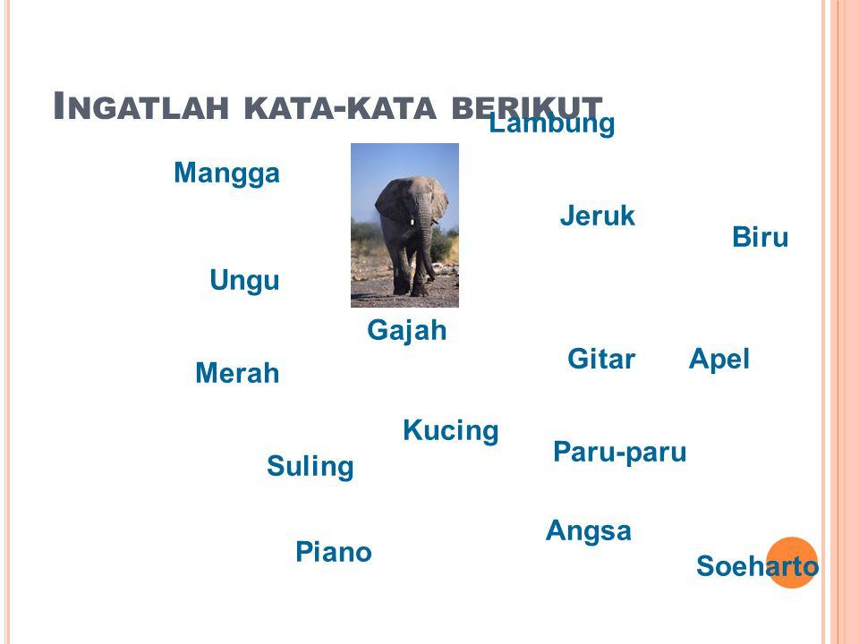 I NGATLAH KATA - KATA BERIKUT Merah Mangga Gajah Gitar Jeruk Suling Kucing Lambung Paru-paru Biru Angsa Piano Apel Ungu Soeharto