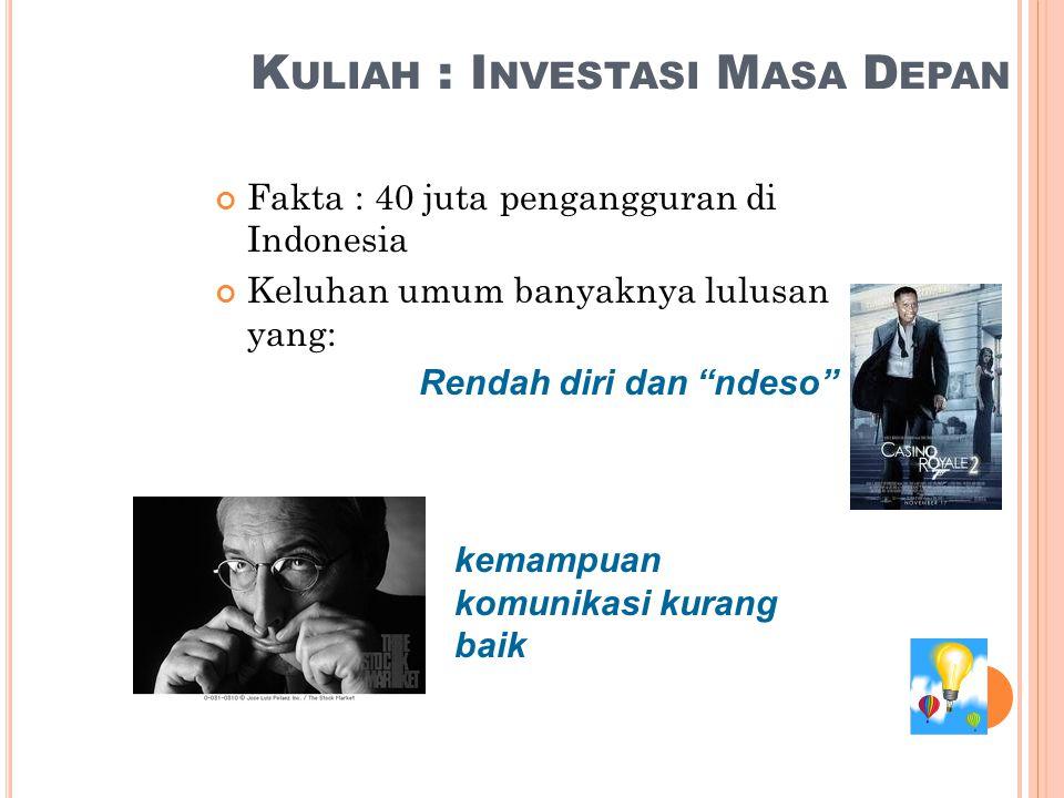 K ULIAH : I NVESTASI M ASA D EPAN Fakta : 40 juta pengangguran di Indonesia Keluhan umum banyaknya lulusan yang: Rendah diri dan ndeso kemampuan komunikasi kurang baik