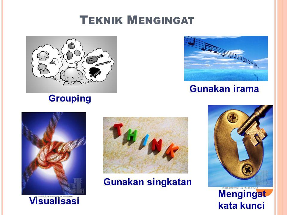 T EKNIK M ENGINGAT Grouping Visualisasi Mengingat kata kunci Gunakan singkatan Gunakan irama