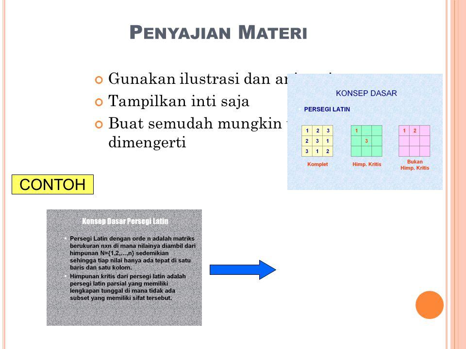 P ENYAJIAN M ATERI Gunakan ilustrasi dan animasi Tampilkan inti saja Buat semudah mungkin untuk dimengerti CONTOH