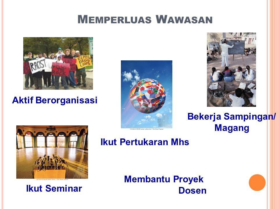 M EMPERLUAS W AWASAN Aktif Berorganisasi Bekerja Sampingan/ Magang Ikut Seminar Ikut Pertukaran Mhs Membantu Proyek Dosen