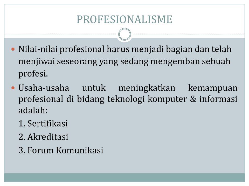 PROFESIONALISME  Nilai-nilai profesional harus menjadi bagian dan telah menjiwai seseorang yang sedang mengemban sebuah profesi.  Usaha-usaha untuk