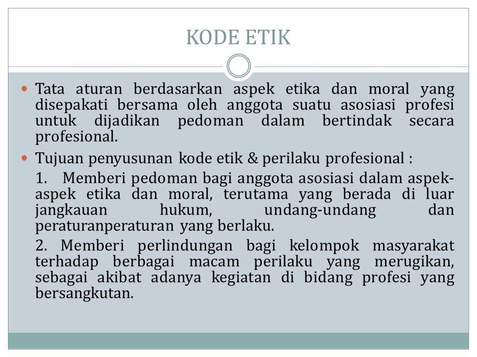 KODE ETIK  Tata aturan berdasarkan aspek etika dan moral yang disepakati bersama oleh anggota suatu asosiasi profesi untuk dijadikan pedoman dalam be