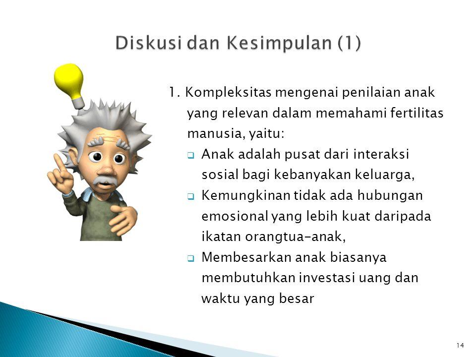 1. Kompleksitas mengenai penilaian anak yang relevan dalam memahami fertilitas manusia, yaitu:  Anak adalah pusat dari interaksi sosial bagi kebanyak