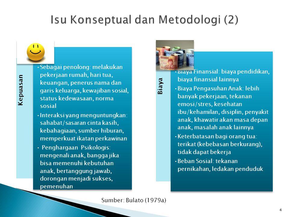 Kepuasan •Sebagai penolong: melakukan pekerjaan rumah, hari tua, keuangan, penerus nama dan garis keluarga, kewajiban sosial, status kedewasaan, norma