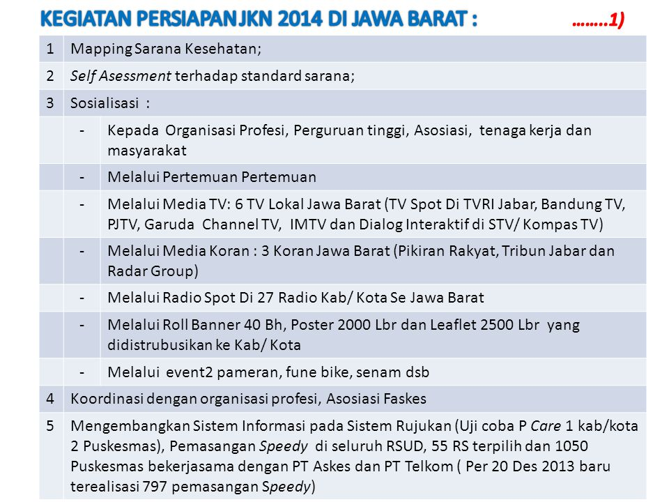 1Mapping Sarana Kesehatan; 2Self Asessment terhadap standard sarana; 3Sosialisasi : -Kepada Organisasi Profesi, Perguruan tinggi, Asosiasi, tenaga kerja dan masyarakat -Melalui Pertemuan Pertemuan -Melalui Media TV: 6 TV Lokal Jawa Barat (TV Spot Di TVRI Jabar, Bandung TV, PJTV, Garuda Channel TV, IMTV dan Dialog Interaktif di STV/ Kompas TV) -Melalui Media Koran : 3 Koran Jawa Barat (Pikiran Rakyat, Tribun Jabar dan Radar Group) -Melalui Radio Spot Di 27 Radio Kab/ Kota Se Jawa Barat -Melalui Roll Banner 40 Bh, Poster 2000 Lbr dan Leaflet 2500 Lbr yang didistrubusikan ke Kab/ Kota -Melalui event2 pameran, fune bike, senam dsb 4Koordinasi dengan organisasi profesi, Asosiasi Faskes 5Mengembangkan Sistem Informasi pada Sistem Rujukan (Uji coba P Care 1 kab/kota 2 Puskesmas), Pemasangan Speedy di seluruh RSUD, 55 RS terpilih dan 1050 Puskesmas bekerjasama dengan PT Askes dan PT Telkom ( Per 20 Des 2013 baru terealisasi 797 pemasangan Speedy)