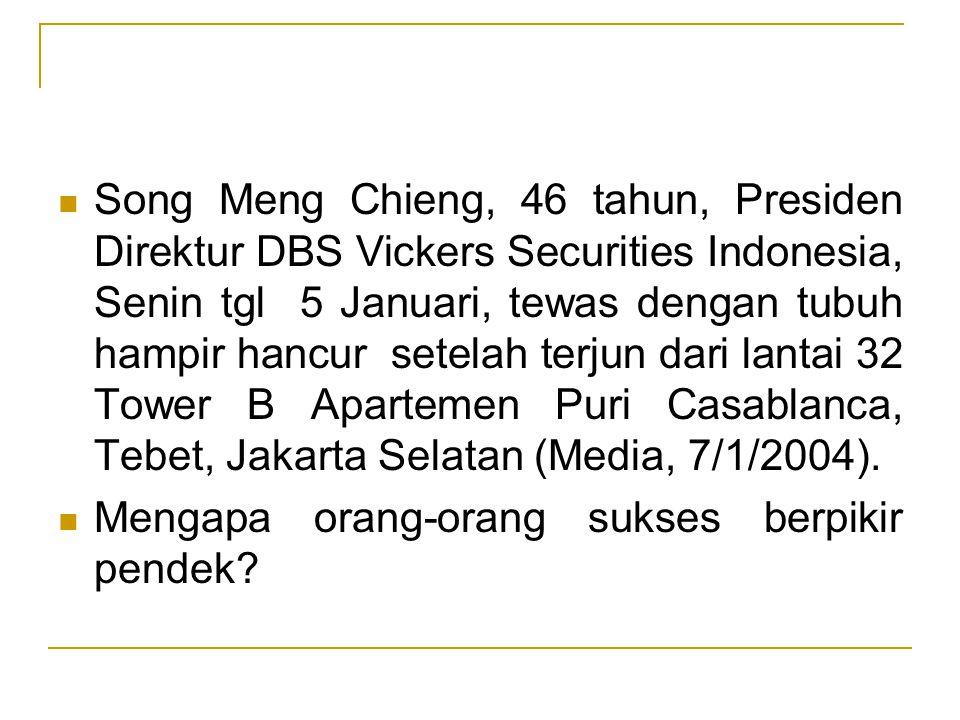 Song Meng Chieng, 46 tahun, Presiden Direktur DBS Vickers Securities Indonesia, Senin tgl 5 Januari, tewas dengan tubuh hampir hancur setelah terjun