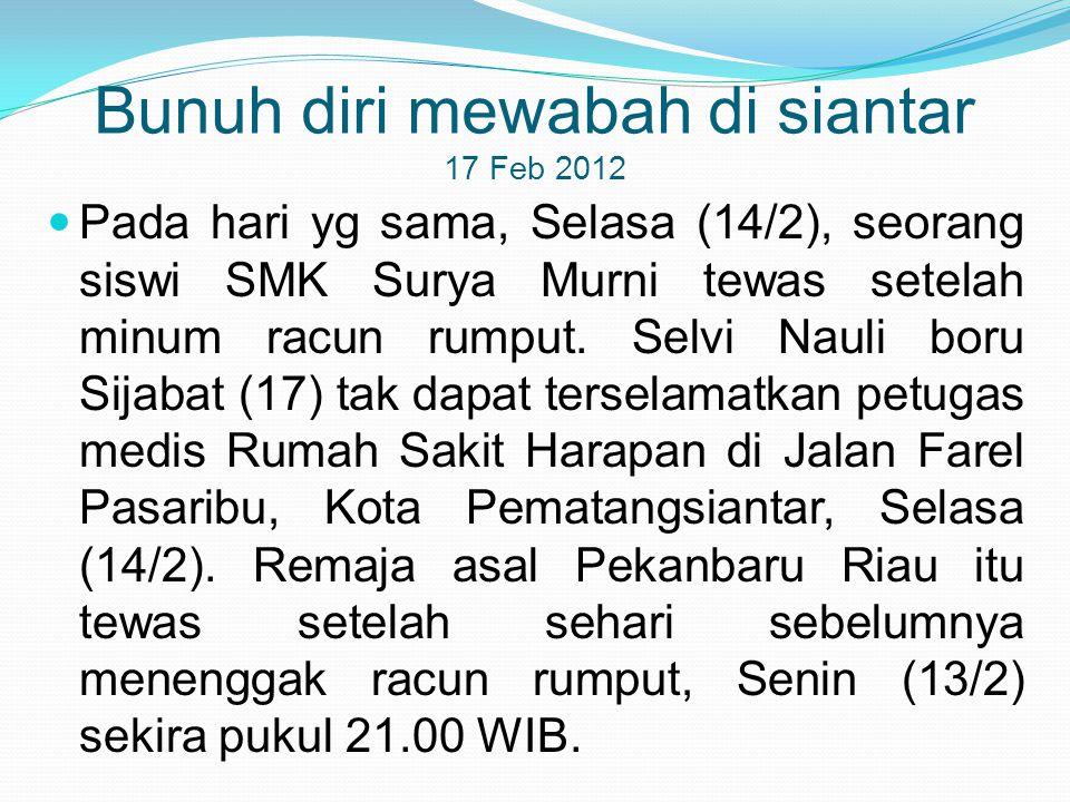 Bunuh diri mewabah di siantar 17 Feb 2012  Pada hari yg sama, Selasa (14/2), seorang siswi SMK Surya Murni tewas setelah minum racun rumput. Selvi Na
