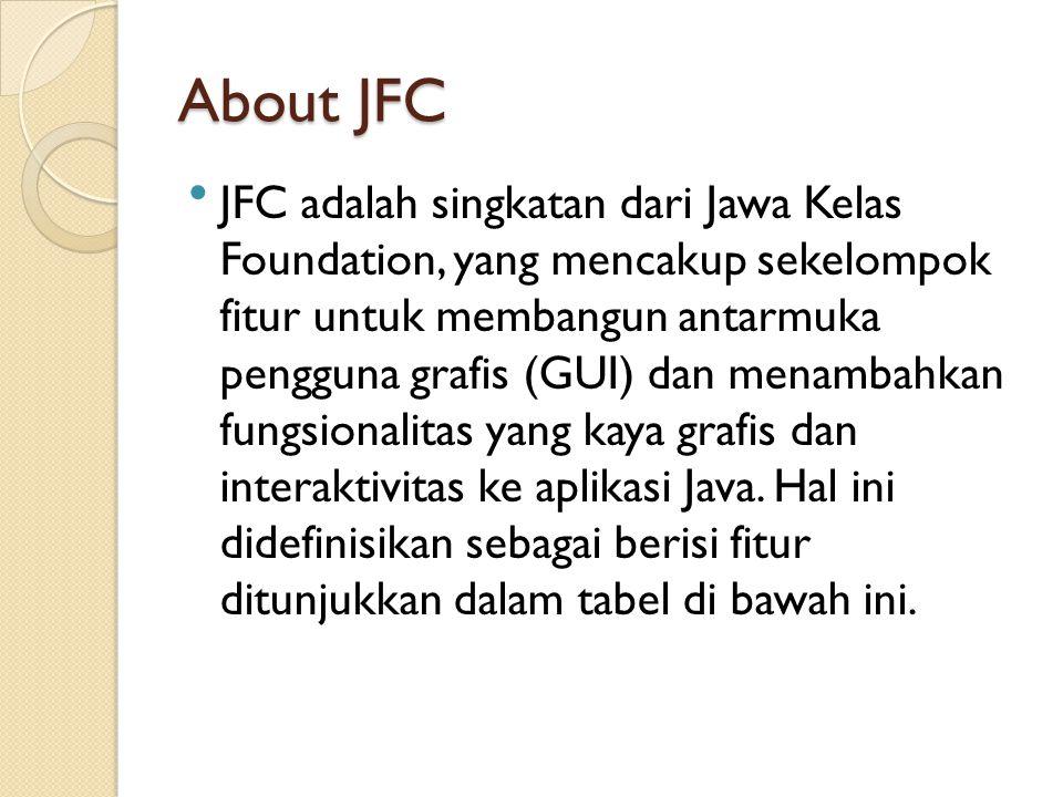 About JFC JFC adalah singkatan dari Jawa Kelas Foundation, yang mencakup sekelompok fitur untuk membangun antarmuka pengguna grafis (GUI) dan menamba