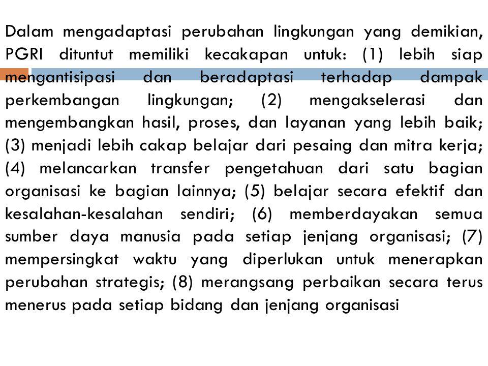 F. PGRI Masa Reformasi PGRI juga melakukan serangkaian perubahan melalui kongres XVIII, November 1998 di Bandung sebagai respon penyesuaian terhadap t