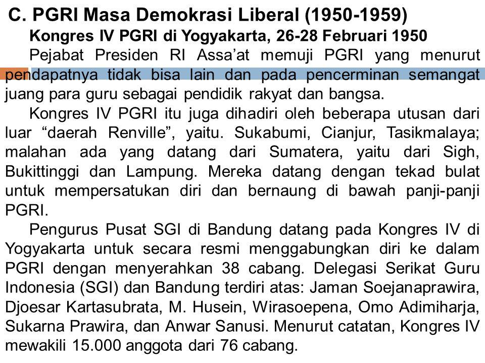 2. Kongres II PGRI di Surakarta, 21 ‑ 23 November 1946 Melalui kongres ini, PGRI mengajukan tuntutan kepada pemerintah, yaitu: (a) sistem pendidikan s