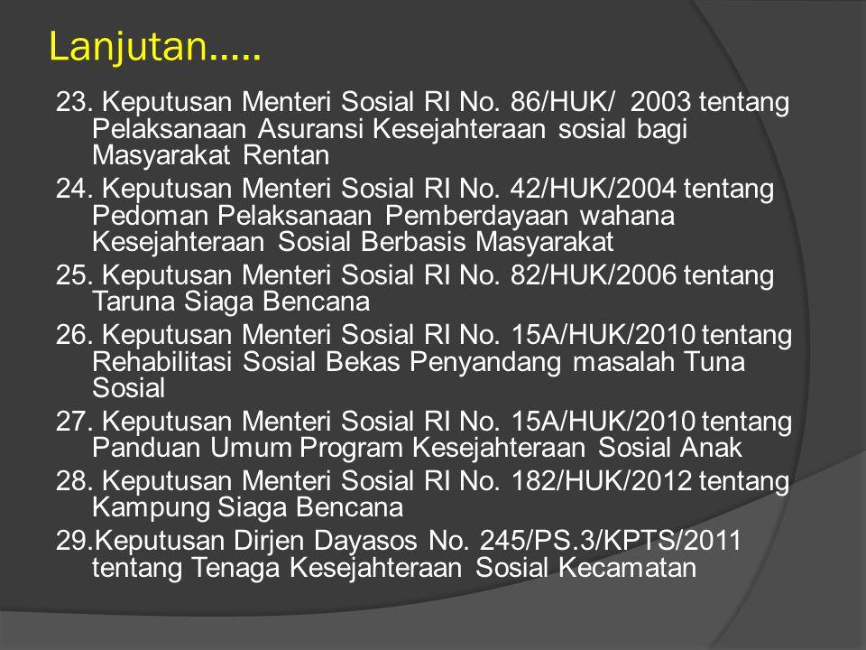 Lanjutan…..23. Keputusan Menteri Sosial RI No.