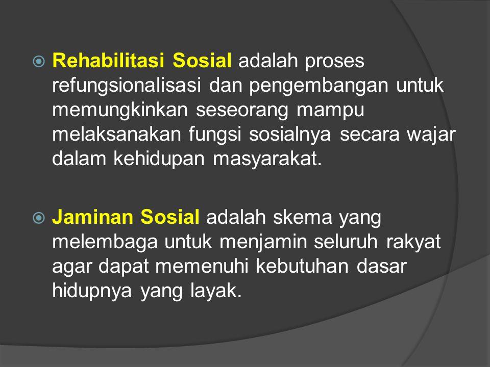  Rehabilitasi Sosial adalah proses refungsionalisasi dan pengembangan untuk memungkinkan seseorang mampu melaksanakan fungsi sosialnya secara wajar dalam kehidupan masyarakat.