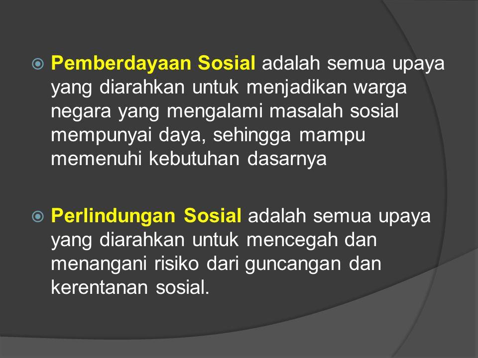  Pemberdayaan Sosial adalah semua upaya yang diarahkan untuk menjadikan warga negara yang mengalami masalah sosial mempunyai daya, sehingga mampu memenuhi kebutuhan dasarnya  Perlindungan Sosial adalah semua upaya yang diarahkan untuk mencegah dan menangani risiko dari guncangan dan kerentanan sosial.
