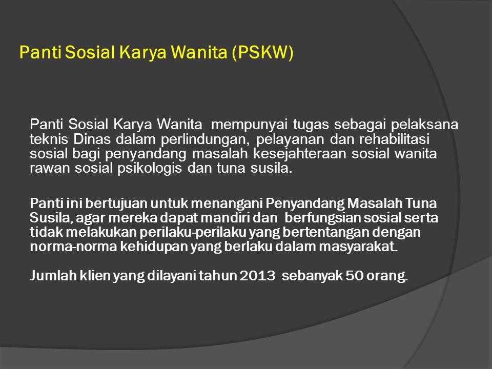 Panti Sosial Karya Wanita (PSKW) Panti Sosial Karya Wanita mempunyai tugas sebagai pelaksana teknis Dinas dalam perlindungan, pelayanan dan rehabilitasi sosial bagi penyandang masalah kesejahteraan sosial wanita rawan sosial psikologis dan tuna susila.