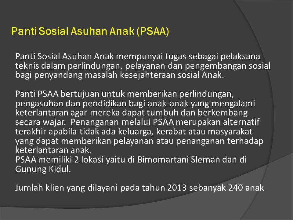 Panti Sosial Asuhan Anak (PSAA) Panti Sosial Asuhan Anak mempunyai tugas sebagai pelaksana teknis dalam perlindungan, pelayanan dan pengembangan sosial bagi penyandang masalah kesejahteraan sosial Anak.
