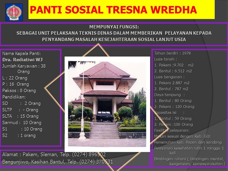 PANTI SOSIAL TRESNA WREDHA Nama Kepala Panti: Dra.