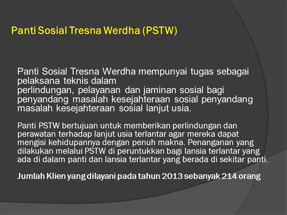 Panti Sosial Tresna Werdha (PSTW) Panti Sosial Tresna Werdha mempunyai tugas sebagai pelaksana teknis dalam perlindungan, pelayanan dan jaminan sosial bagi penyandang masalah kesejahteraan sosial penyandang masalah kesejahteraan sosial lanjut usia.