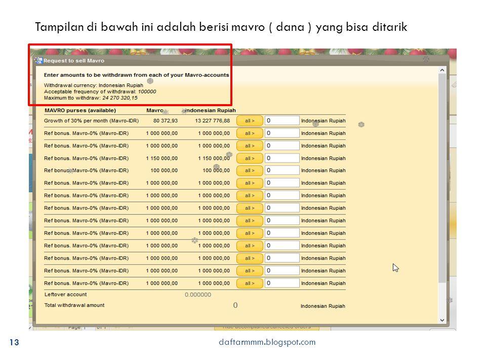 daftarmmm.blogspot.com 13 Tampilan di bawah ini adalah berisi mavro ( dana ) yang bisa ditarik