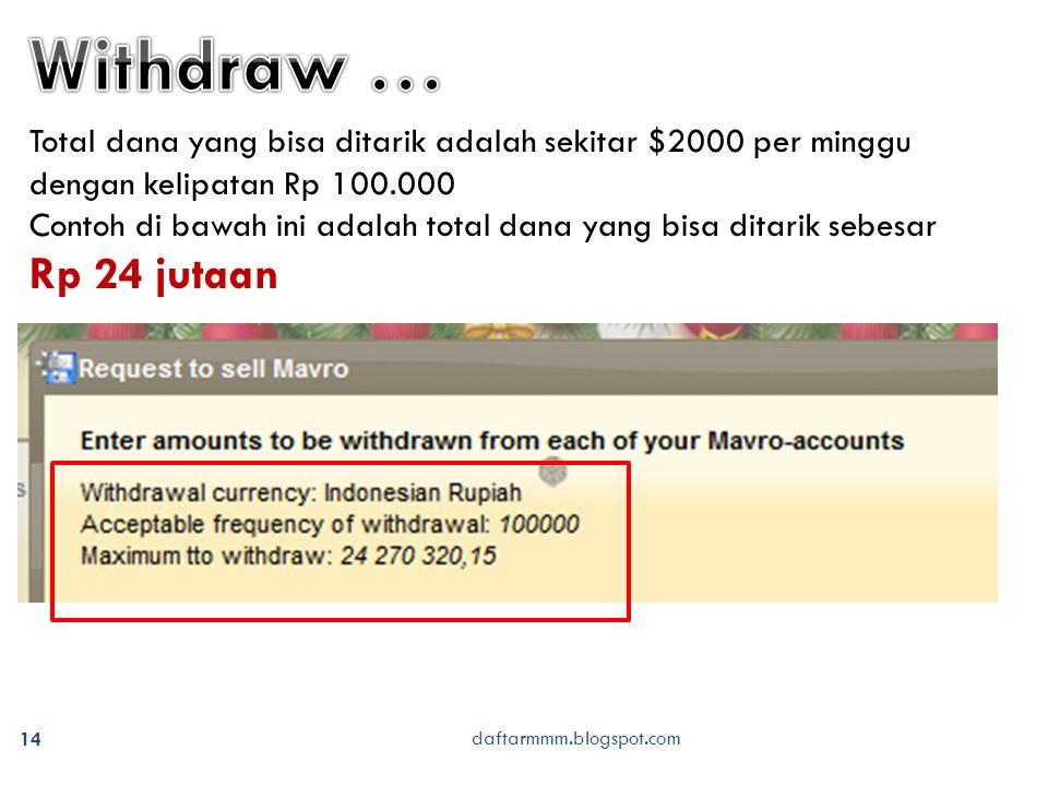daftarmmm.blogspot.com 14 Total dana yang bisa ditarik adalah sekitar $2000 per minggu dengan kelipatan Rp 100.000 Contoh di bawah ini adalah total dana yang bisa ditarik sebesar Rp 24 jutaan