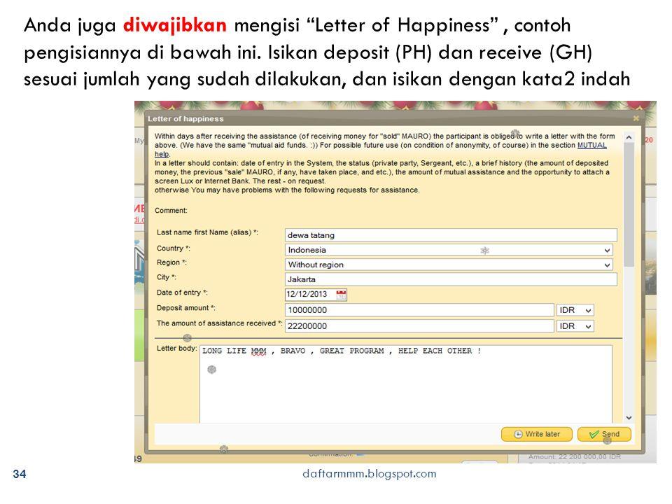 daftarmmm.blogspot.com 34 Anda juga diwajibkan mengisi Letter of Happiness , contoh pengisiannya di bawah ini.