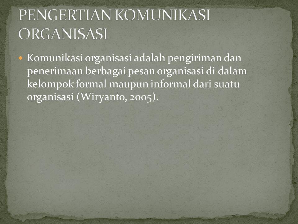  Komunikasi organisasi adalah pengiriman dan penerimaan berbagai pesan organisasi di dalam kelompok formal maupun informal dari suatu organisasi (Wiryanto, 2005).